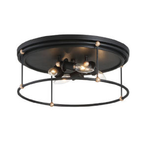 Westchester County Sand Coal And Skyline Gold Leaf Four-Light Flush Mount