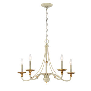 Westchester County Farm House White Five-Light 34-Inch Chandelier