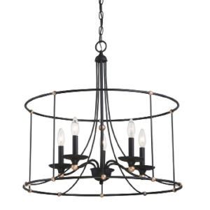 Westchester County Sand Coal And Skyline Gold Leaf Five-Light 25-Inch Chandelier