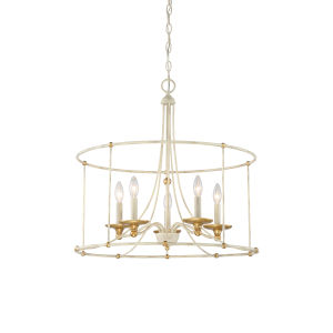 Westchester County Farm House White Five-Light 25-Inch Chandelier