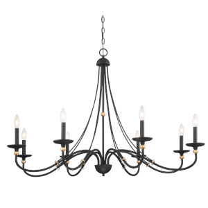 Westchester County Sand Coal And Skyline Gold Leaf Eight-Light Chandelier