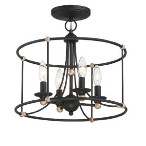 Westchester Couty Sand Coal And Skyline Gold Leaf Four-Light Semi Flush Mount