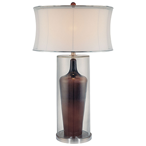 Clear and Brown Inside One-Light Table Lamp