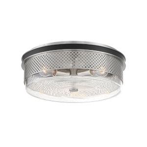 Coles Crossing Coal And Brushed Nickel Three-Light Flush Mount