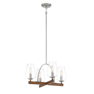 Birnamwood Koa Wood And Pewter Four-Light Chandelier