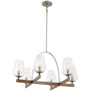Birnamwood Koa Wood And Pewter Six-Light Chandelier