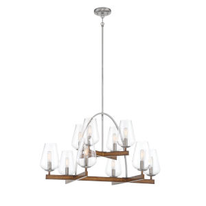 Birnamwood Koa Wood And Pewter 10-Light Chandelier
