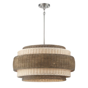 Montauck Bay Rattan Brushed Nickel 20-Inch Four-Light Pendant