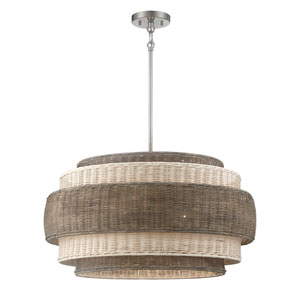 Montauck Bay Rattan Brushed Nickel Five-Light Pendant