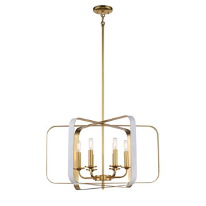 Aureum Matte White and Honey Gold 26-Inch Six-Light Pendant