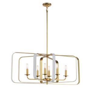 Aureum Matte White and Honey Gold 40-Inch Six-Light Pendant