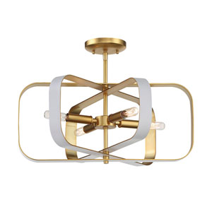 Aureum Matte White and Honey Gold Four-Light Semi-Flush Mount