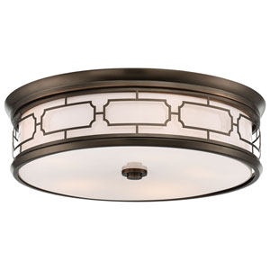 Harvard Court Bronze 20-Inch LED Flush Mount with Etched Opal Glass