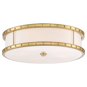 Drum Liberty Gold 20-Inch LED Flush Mount with Etched Opal Glass