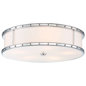 Drum Chrome 20-Inch LED Flush Mount with Etched Opal Glass