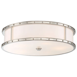 Drum Brushed Nickel 20-Inch LED Flush Mount with Etched Opel Glass