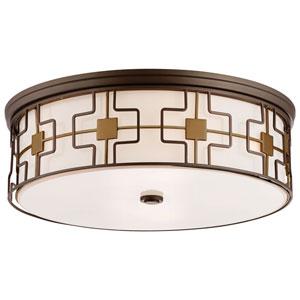 Dark Brushed Bronze and Aged Brass 20-Inch LED Flush Mount