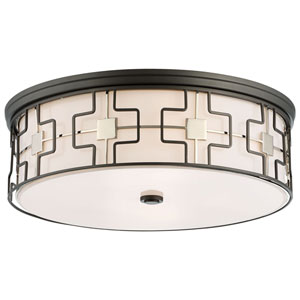 Dark Gray and Polished Nickel 20-Inch LED Flush Mount