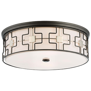 1846-105 Dark Gray with Polished Nickel Five-Light Flush Mount