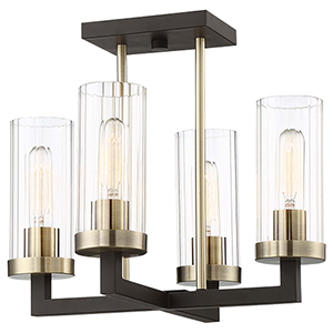 Ainsley Court Aged Kinston Bronze and Brushed Brass Four-Light Semi Flush Mount