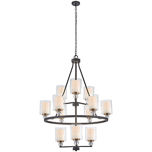 Studio 5 Painted Bronze with Natural Brush 12-Light Chandelier