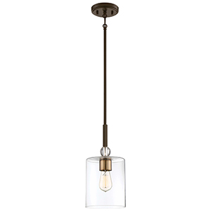 Studio 5 Painted Bronze with Natural Brushed Brass One-Light Mini Pendant