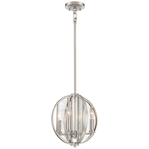 Via Capri Brushed Nickel 12-Inch Four-Light Pendant