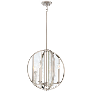 Via Capri Brushed Nickel 18-Inch Four-Light Pendant