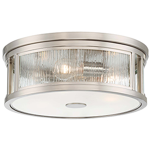 Via Capri Brushed Nickel Three-Light Flush Mount