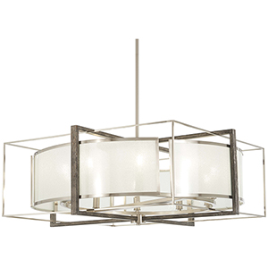 Tysons Gate Brushed Nickel with Shale Wood 10-Light Pendant