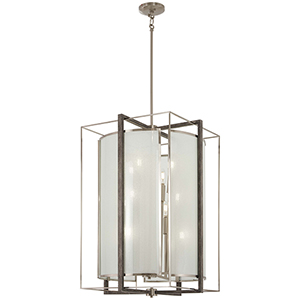 Tysons Gate Brushed Nickel with Shale Wood 12-Light Pendant