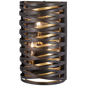 Vortic Flow Dark Bronze with Mosaic Gold Three-Light Wall Sconce
