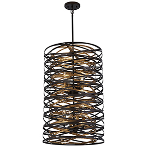 Vortic Flow Dark Bronze with Mosaic Gold Eight-Light Pendant