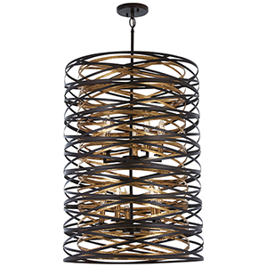 Vortic Flow Dark Bronze with Mosaic Gold 10-Light Pendant