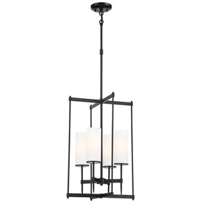 First Avenue Coal Four-Light Foyer Pendant with Etched White Glass Shade