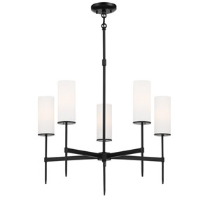 First Avenue Coal Five-Light Chandelier with Etched White Glass Shade