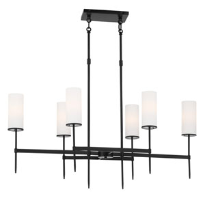 First Avenue Coal Six-Light Island with Etched White Glass Shade