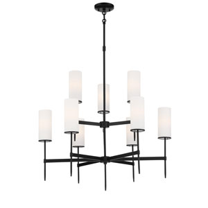 First Avenue Coal Nine-Light Chandelier with Etched White Glass Shade