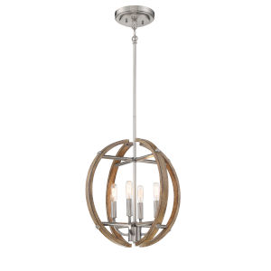 Country Estates Sun Faded Wood With Brushed Nickel 17-Inch Four-Light Pendant