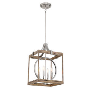 Country Estates Sun Faded Wood With Brushed Nickel 15-Inch Four-Light Pendant