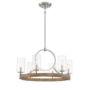 Country Estates Sun Faded Wood With Brushed Nickel 28-Inch Six-Light Chandelier