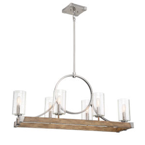 Country Estates Sun Faded Wood With Brushed Nickel 15-Inch Six-Light Chandelier