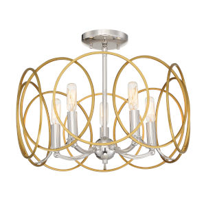 Chassell Painted Honey Gold With Polish Five-Light Semi-Flush Mount