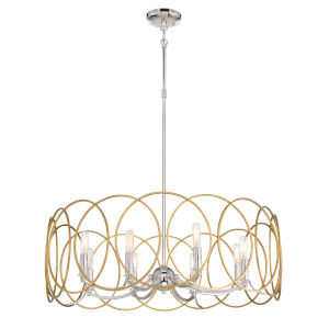 Chassell Painted Honey Gold With Polish Eight-Light Pendant