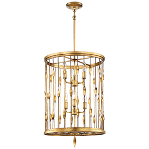 Olivetas II Terrace Gold Leaf Six-Light Pendant