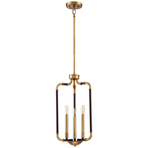 Liege Aged Kinston Bronze and Brass Three-Light Pendant