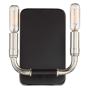 Liege Matte Black with Polished Nickel Two-Light Wall Sconce