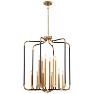 Aged Kinston Bronze with Brass Highlights 12-Light Pendant
