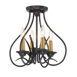 La Courbe Black With Antique Brass Four-Light Semi-Flush Mount
