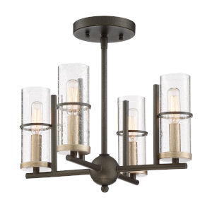 Sussex Court Smoked Iron With Aged Gold Four-Light Semi-Flush Mount